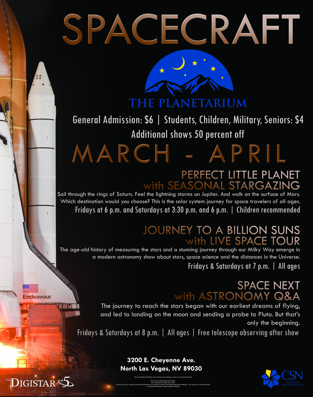 March and April 2019 Planetarium Schedule Flyer