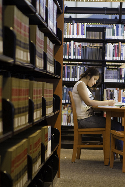 Student studying in Charleston Campus Library