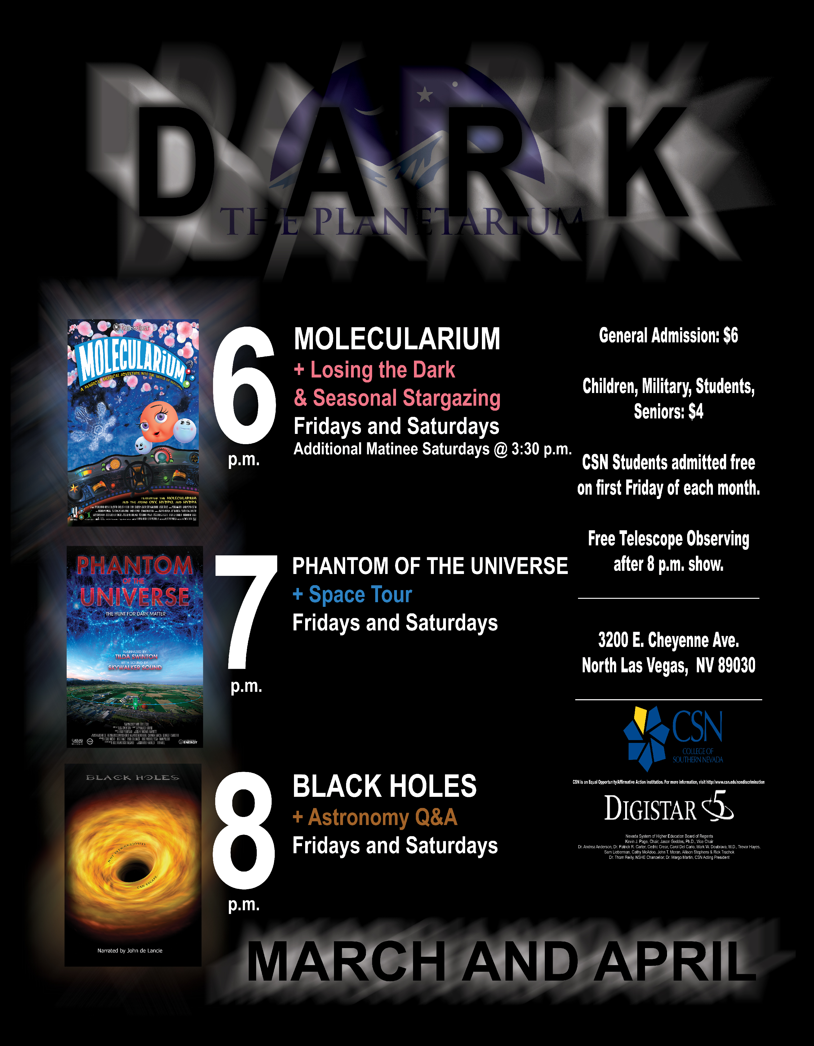 March through April Planetarium Schedule Flyer