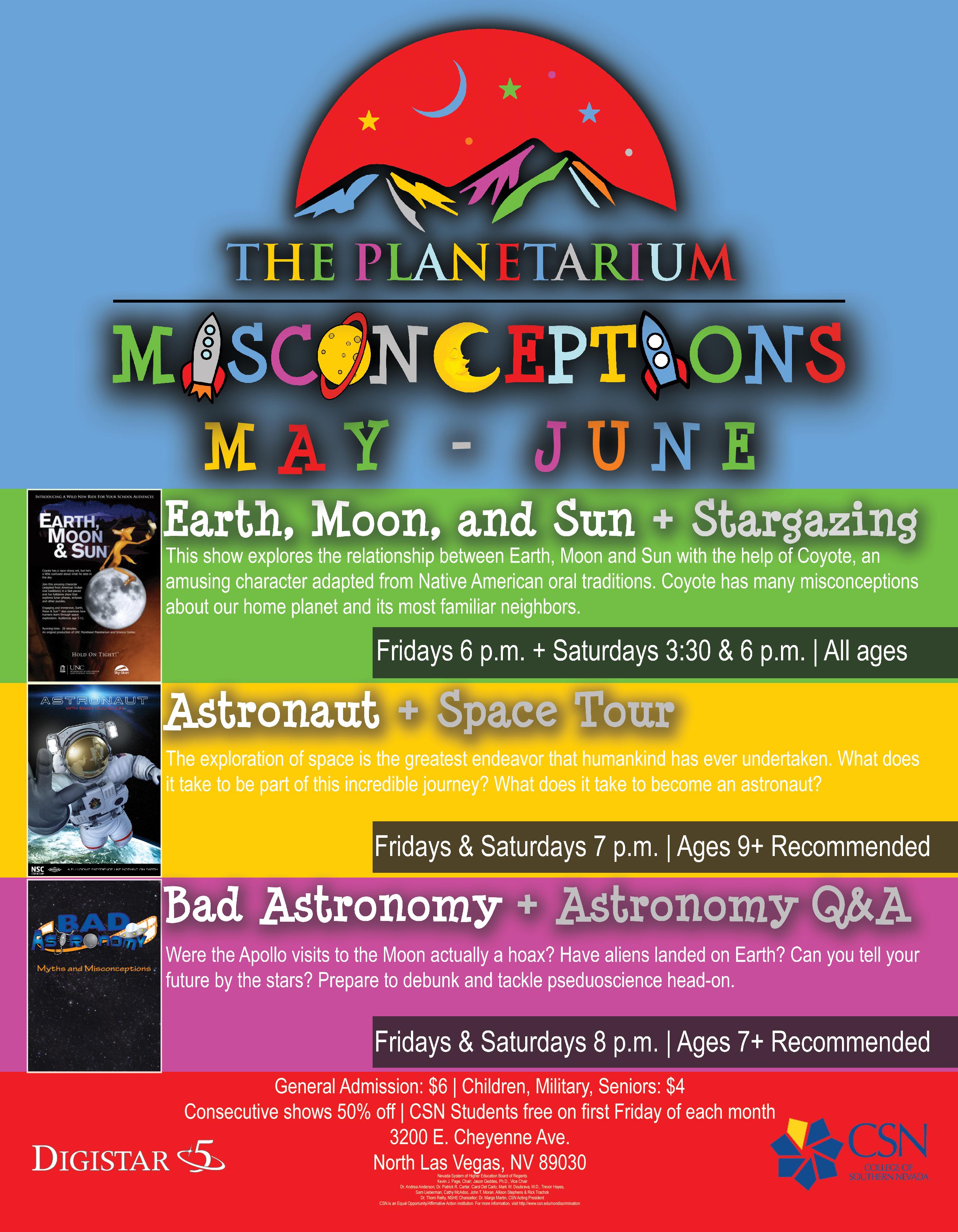 May through June Planetarium Schedule Flyer