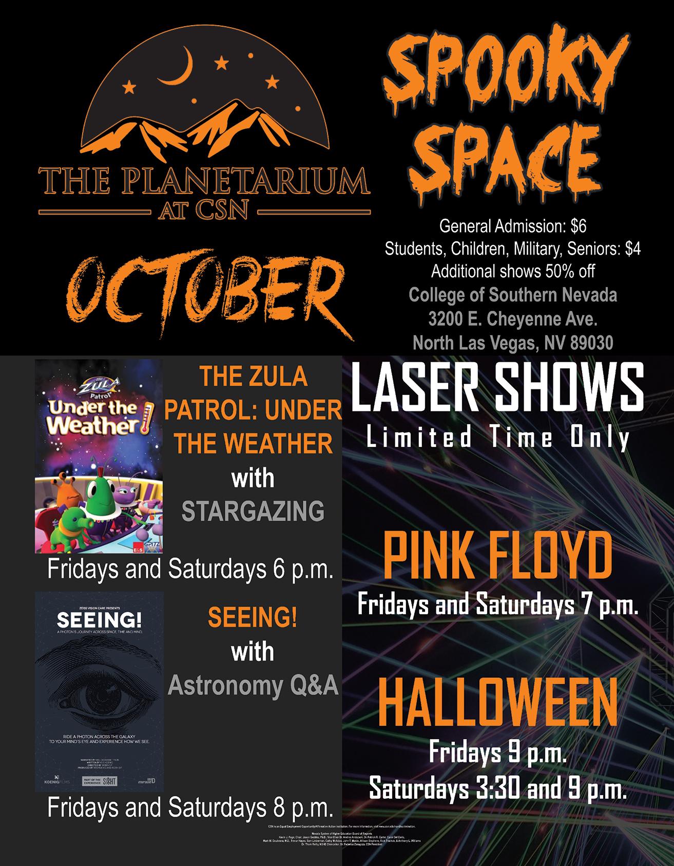 October Planetarium Schedule Flyer